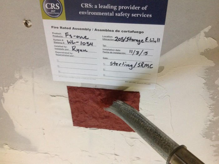 CRS Firestop label